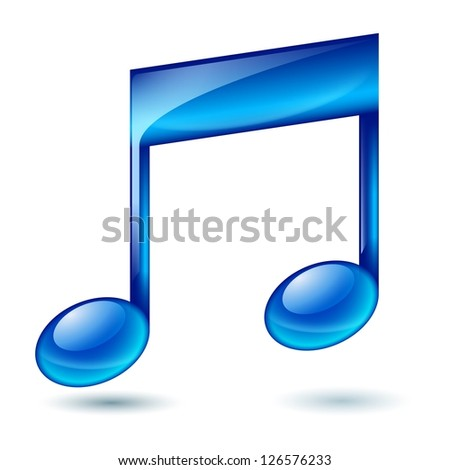 Raster version. Musical note. Illustration on white background for design