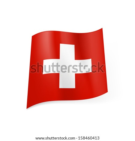 Raster version. National flag of Switzerland: white cross in centre of red square field.
