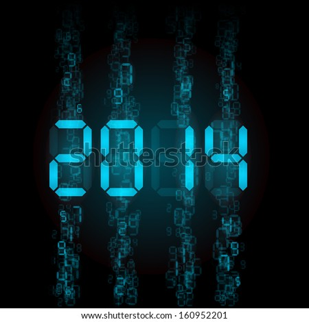 Raster version. New Year 2014: blue digital numerals on black.