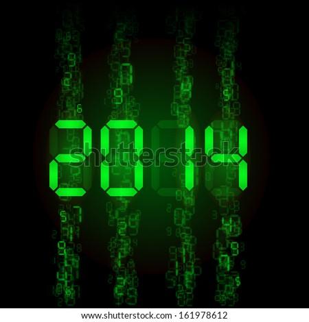 Raster version. New Year 2014: green digital numerals on black.
