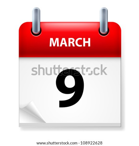 Raster version. Ninth March in Calendar icon on white background