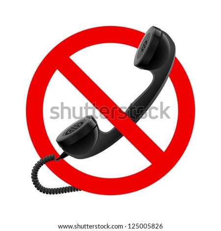 Raster version. No handset allowed sign.  Illustration on white background