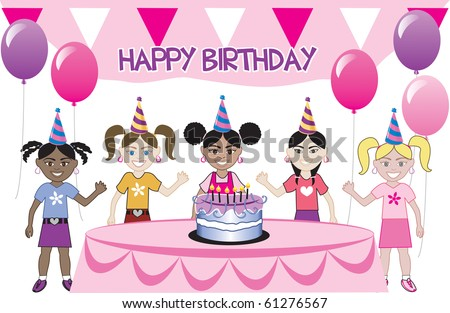 Raster version of a birthday party with cake. Five young happy kids celebrating. Can be used as an invitation. Available in all girls, all boys and mixed group of kids.