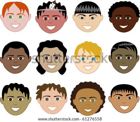Raster version of 12 Boys Faces