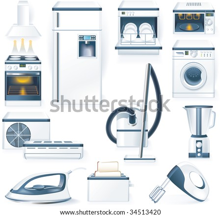 raster version of detailed household appliances icons