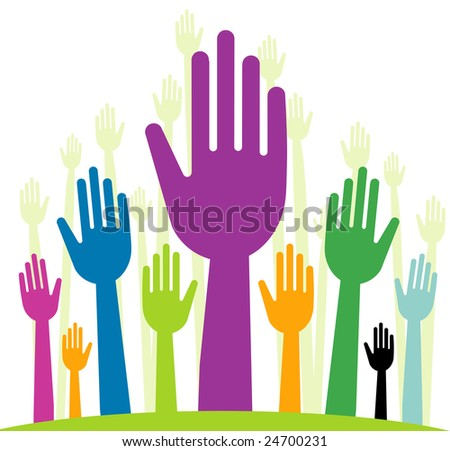 raster  version of happy volunteering hands - part 1 (straight fingers)