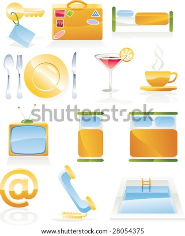 Raster version of hotel service icon set