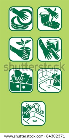 Raster version.  of icon set. Domestic cleaning. Green design.
