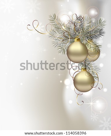 raster version of light Christmas background with silver evening balls
