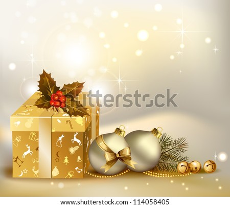 raster version of light Christmas background with two evening balls and gifts