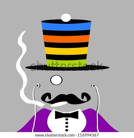 raster version of man wearing colorful top hat and smoking marijuana