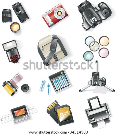 Raster version of photography equipment icon set
