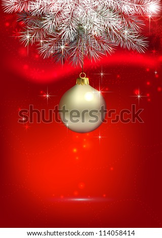 raster version of red Christmas background with one silver evening ball - stock photo
