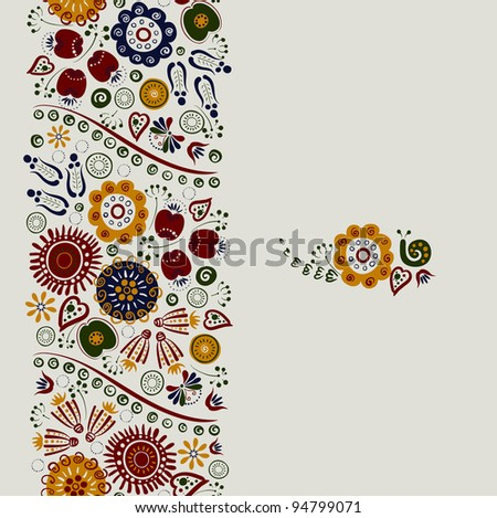 raster version of seamless ornament of bright decorative flowers
