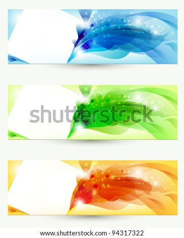 raster version of set of three banners, abstract headers