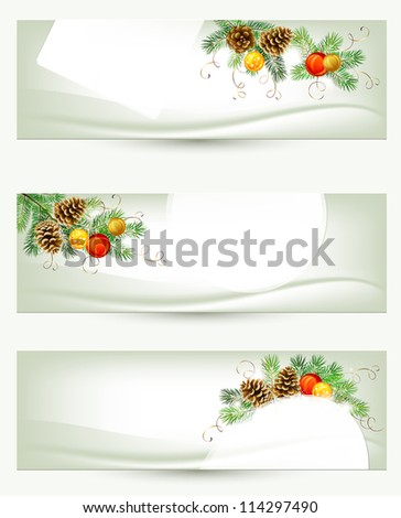 raster version of set of three light Christmas banners with vitality cones , fir tree and balls