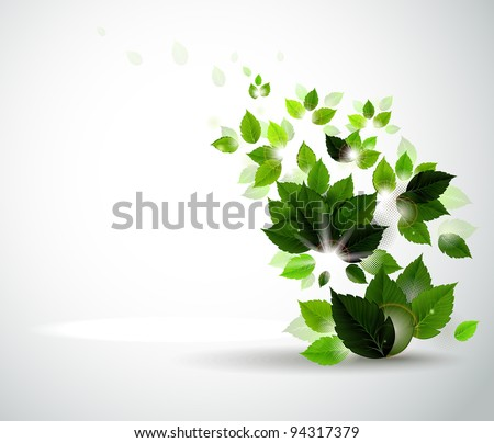 raster version of Summer branch with fresh green leaves