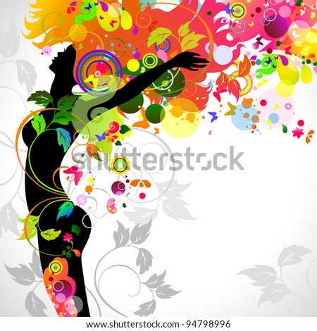 raster version of Summer decorative composition with girl