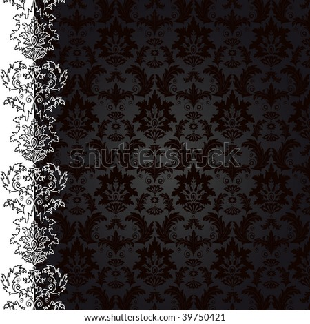 Raster version of vector background with black flowers and leaves