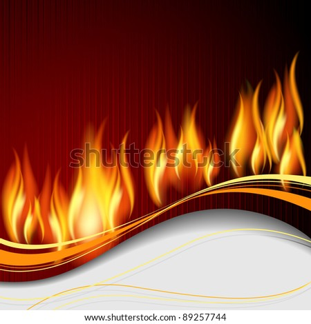 Raster version of vector background with flame and white wave.
