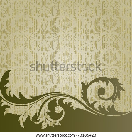 Raster version of vector beige  retro background with  flowers and leaves
