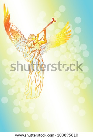 Raster version of vector/ Blowing Angel - on an abstract blue background