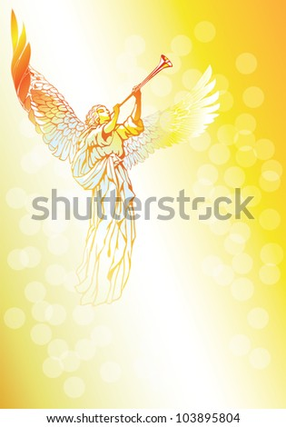 Raster version of vector/ Blowing Angel - on an abstract gold background