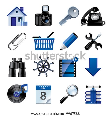 Raster version of vector blue website and internet icons 2