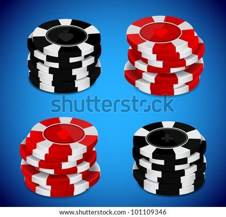 Raster version of vector casino chips stack