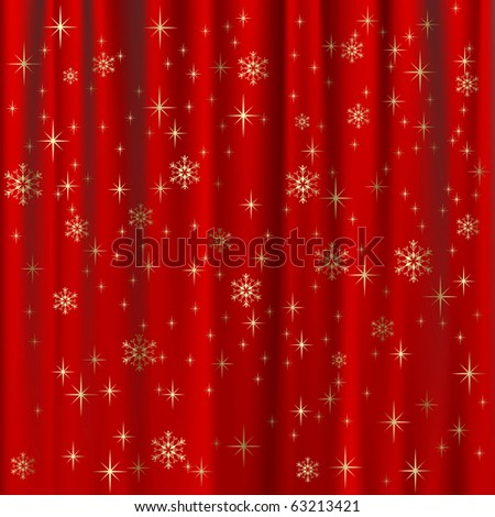 Raster version of vector christmas background with red curtain and gold snowflakes