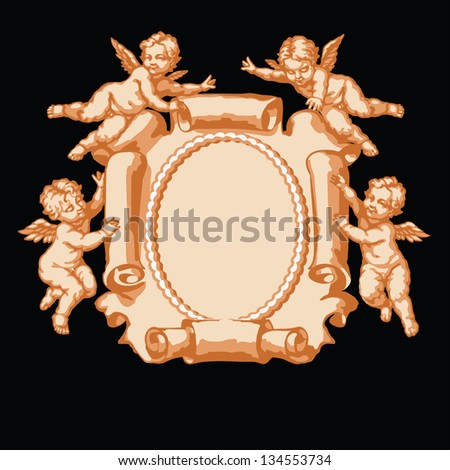 Raster version of vector/ Four little angel with a vertical parchment. In three colors on a black background