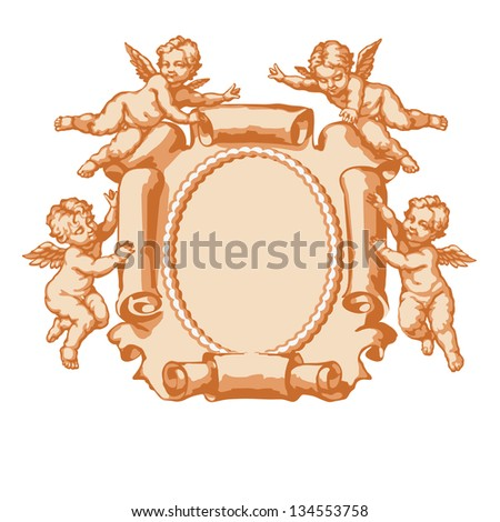 Raster version of vector/ Four little angel with a vertical parchment. In three colors on white background