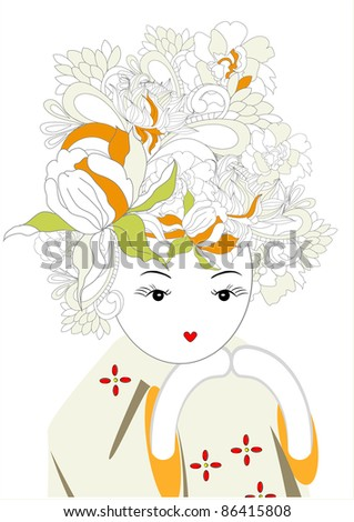Raster version of vector Girl with floral hair