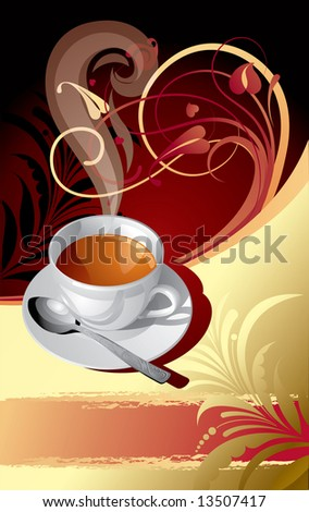 Raster version of vector gold classic background with a cup