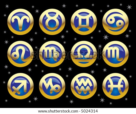 Raster version of vector gold icons of signs of the zodiac (contain the Clipping Path of all objects)
