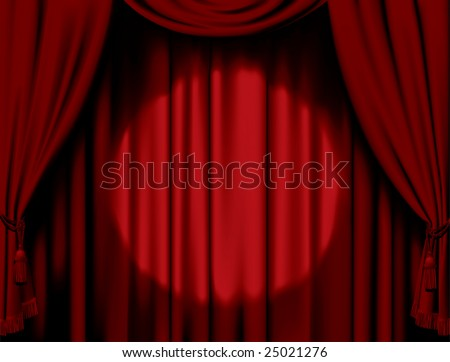 Raster version of vector illuminated red curtain