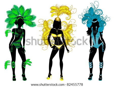 Raster version of vector Illustration for Carnival 3 Silhouettes with different costumes.