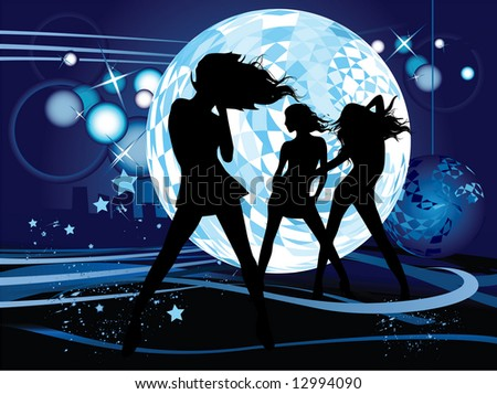 Raster version of vector illustration with dancing young women. Music concept.