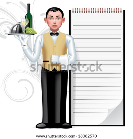 Raster version of vector image of a young waiter & writing pad