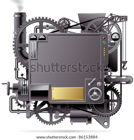 Raster version of vector isolated image of the complex fantastic machine with gears, levers, pipes, meters, production line, flue and lifting crane