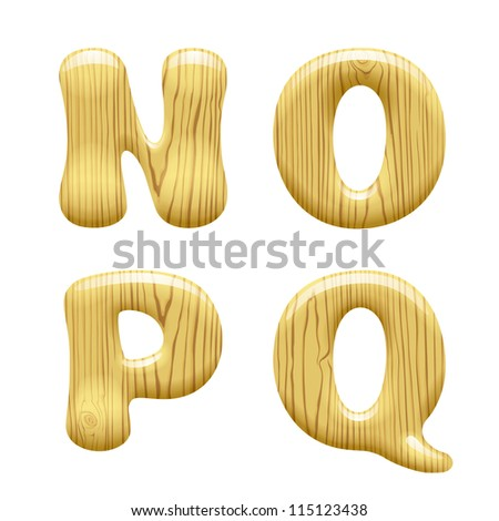 Raster version of vector isolated image of wood Alphabet capital Letters