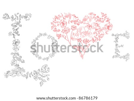 Raster version of vector Letters LOVE with heart