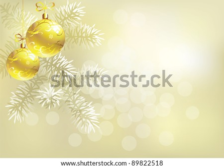Raster version of vector/ Light golden abstract background with two gold Christmas tree balls - horizontally