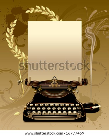 Raster version of vector old typewriter with gold laurels