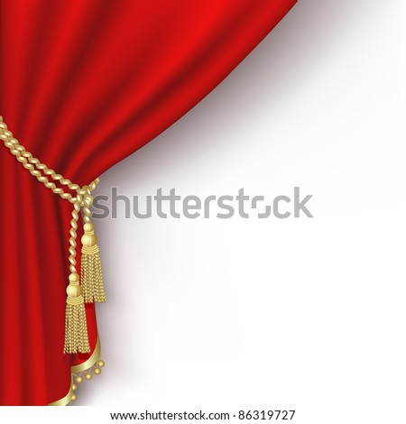 Raster version of vector red curtain on the  white background.