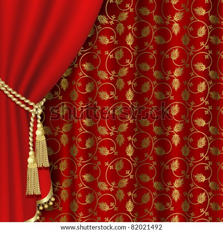 Raster version of vector red curtain with gold pattern.