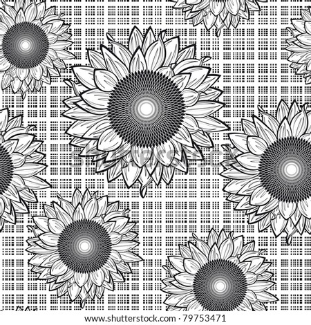 Raster version of vector seamless from sunflowers.Black and white.(can be repeated and scaled in any size)