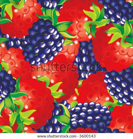 Raster version of vector seamless pattern with blackberries and raspberryes