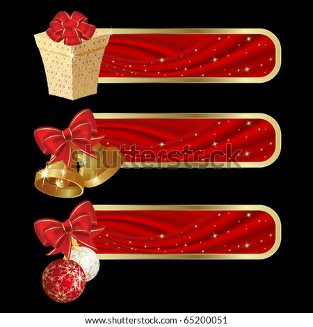 Raster version of vector set of christmas banners with red curtain.