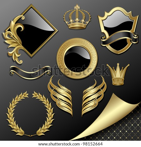 Raster version of vector set of heraldic gold and black design elements